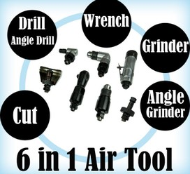 6 In 1 Air Tool Kit Air Grinder Wrench Drill Angle Drill Cut Tool Angle Grinder