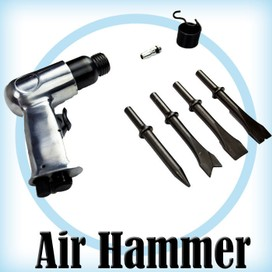 AIR HAMMER Professional Pistol Gun Kit + Chisels Pneumatic Compressor Tools