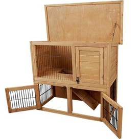 2 Storey Rabbit Guinea Pig Cage Chicken Hen House Ferret Coop Hutch Run Wire