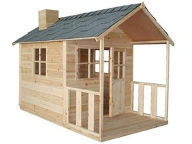 Outdoor Playhouse Wooden Cubby House + Windows Verandah
