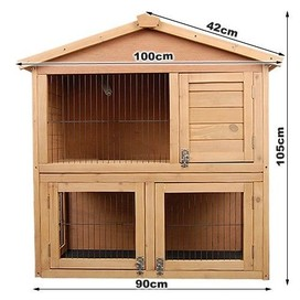 2 STOREY RABBITGUINEA PIG CAGE HUTCH RUN & WIRE DOOR